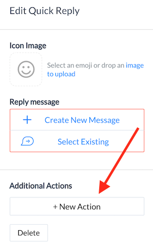 add action to quick reply