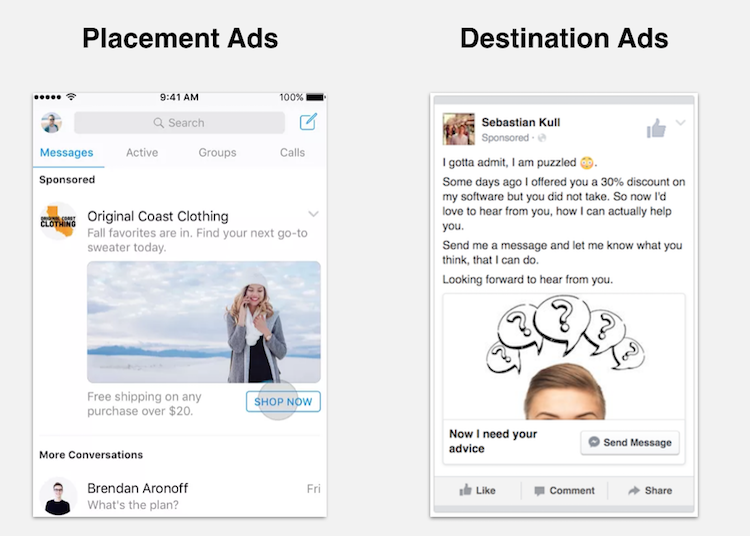 placement vs destination ads facebook messenger
